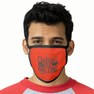 Funny BBQ Quote Grilling & Chilling Face Mask