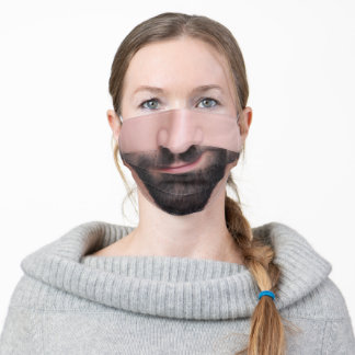 Funny beard mouth grin thin lips caucasian adult cloth face mask