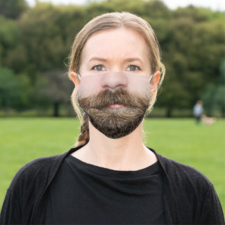 Funny beard mouth photo adult cloth face mask