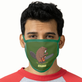 Funny beaver with chainsaw cartoon humor face mask