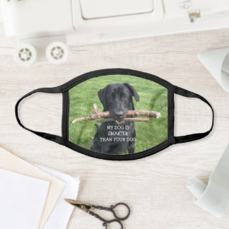 Funny Black Lab with Two Sticks Custom  Face Mask