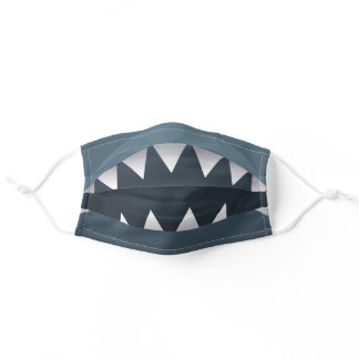 Funny blue gray shark teeth illustration mouth adult cloth face mask