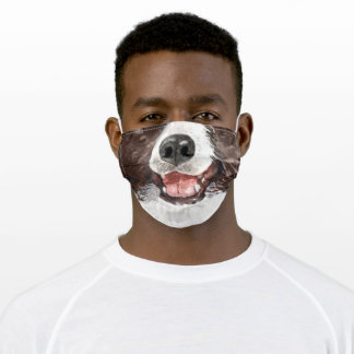 Funny border collie animal face watercolor art adult cloth face mask