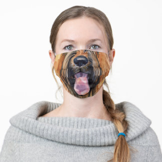 Funny Briard animal face watercolor art Adult Cloth Face Mask