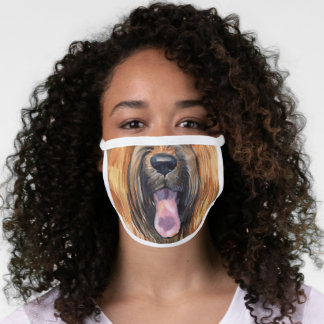 Funny briard pet dog animal face watercolor humor face mask