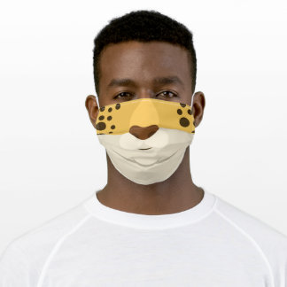 Funny Brown Tan White and Black Leopard Print Adult Cloth Face Mask