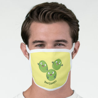 Funny Brussels sprouts vegetables cartoon Face Mask