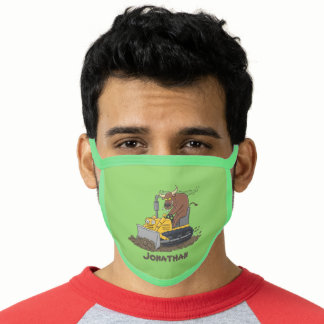 Funny bull driving bulldozer cartoon face mask