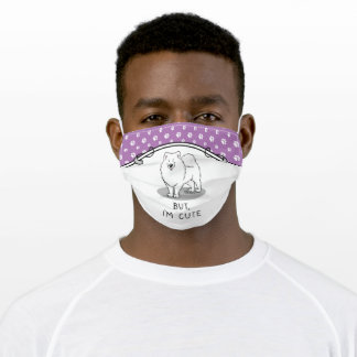 Funny But, I'm Cute Samoyed Smiling Dog Lover Adult Cloth Face Mask