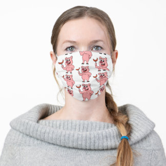 Funny cartoon pig with sausage  adult cloth face mask