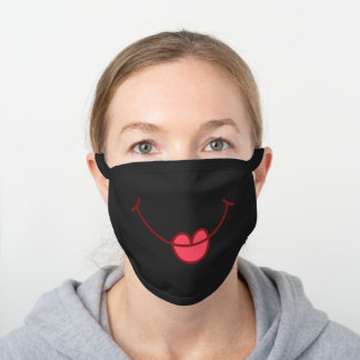 Funny Cartoon Smile And Lips, Happy Cheerful Black Black Cotton Face Mask