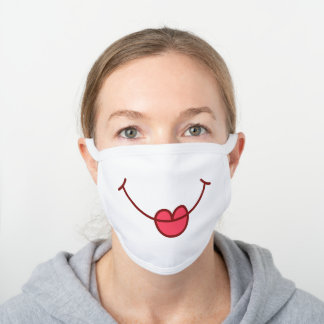 Funny Cartoon Smile And Lips, Happy Cheerful White White Cotton Face Mask
