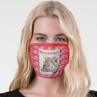 Funny Cat Merry cats Christmas Ladies Face Mask