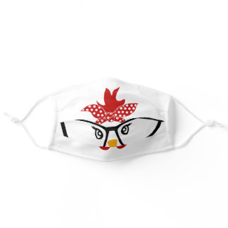Funny Chicken Face With Glasses Adult Cloth Face Mask