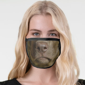 Funny Chocolate Lab Dog Face Mouth Face Mask