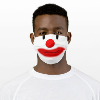 Funny Clown Face Red Nose Red Lips Adult Cloth Face Mask