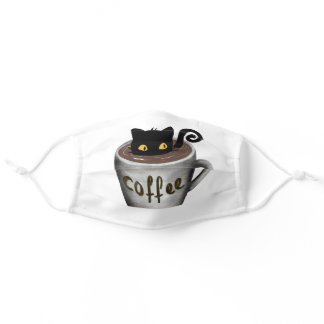 Funny Coffee Cat Cloth Face Mask