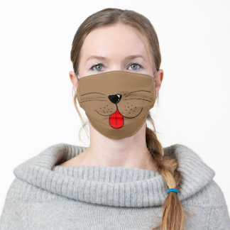 Funny Cute Brown Heart Nose Tongue Dog Face Safety Adult Cloth Face Mask