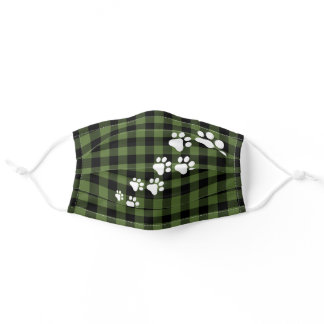 Funny Cute Snow Dog Paws Green Black Buffalo Check Adult Cloth Face Mask