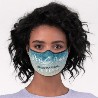 Funny Dear Beach I Think About You Ocean Blue Premium Face Mask