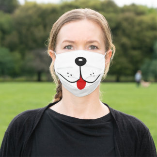Funny Dog Face Mouth Red Tongue Dogs Nose Cute Adult Cloth Face Mask