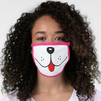 Funny Dog Face Mouth Red Tongue Dogs Nose Cute Face Mask