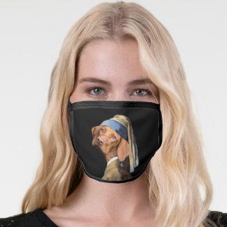 Funny Dog Girl with a Pearl Earring Vermeer Parody Face Mask