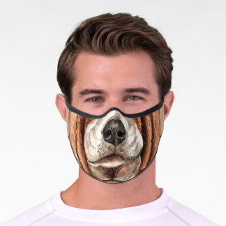 funny dog mouth nose overlay | basset hound premium face mask