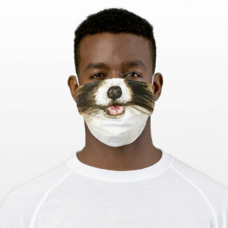 Funny dog mouth nose watercolor brown white humor adult cloth face mask