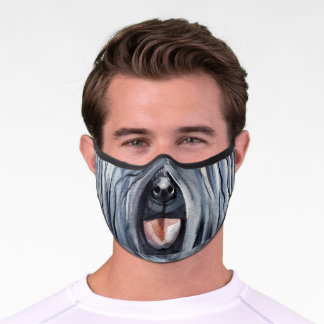 Funny dog nose mouth Puli dogs humor Premium Face Mask