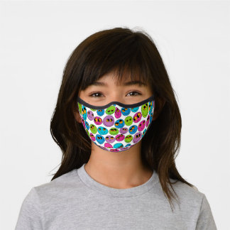 Funny Emoji Faces Turquoise Pink Cute Pattern Premium Face Mask