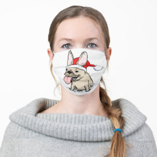 Funny French Bulldog Christmas Holiday Adult Cloth Face Mask