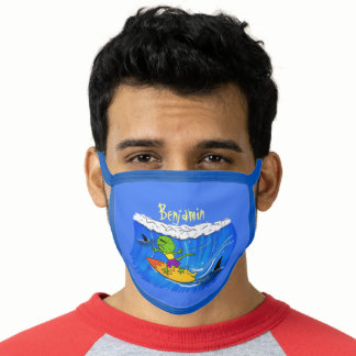 Funny frilled neck lizard surfing cartoon face mask