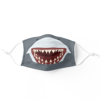 Funny Gray Shark Mouth Print Adult Cloth Face Mask