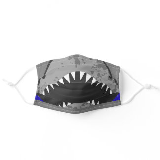 Funny gray shark teeth illustration mouth adult cloth face mask