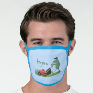 Funny green frog mowing lawn cartoon face mask