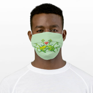 Funny green frogs falling in love while jumping adult cloth face mask