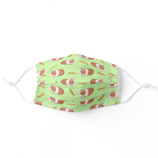 Funny Guinea Pig Carrots Cute Animal Pattern Green Adult Cloth Face Mask