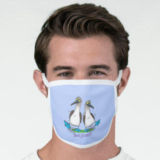 Funny, happy blue footed boobies dancing cartoon face mask