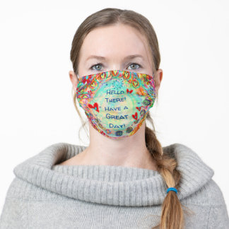 """Funny """"Hello There"""" Inspirivity Adult Cloth Face Mask"""