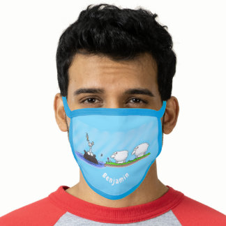 Funny hippo birdie two ewes face mask