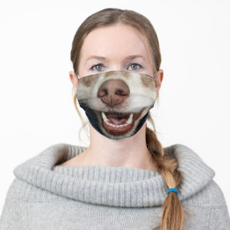 funny humour animal lover puppy dog smile adult cloth face mask