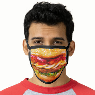 funny junk food cheese burger Hamburger Face Mask