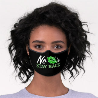 Funny Kiss Green Lips Mouth Black Premium Face Mask