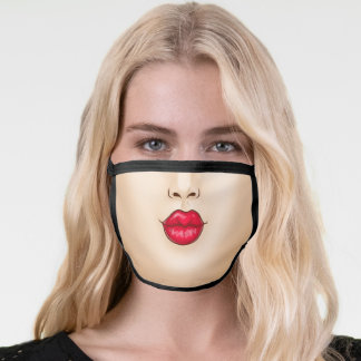 Funny Kissing mouth - Light Complexion Face Mask