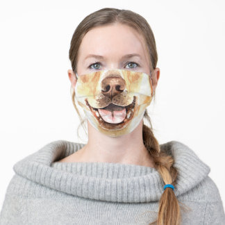 Funny Labrador retriever face watercolor humor Adult Cloth Face Mask