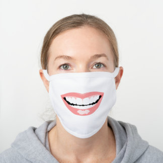 Funny Large Smiling Bright Pink Lips with Teeth White Cotton Face Mask