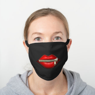 Funny Lips with Zipper Black Cotton Face Mask