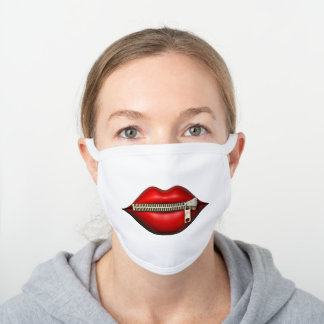 Funny Lips with Zipper White Cotton Face Mask