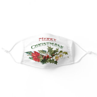 """Funny Merry """"Christmask"""" Typography & Floral Adult Cloth Face Mask"""